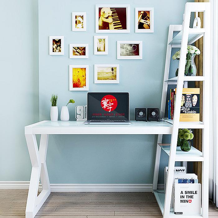 2平米 电脑台式桌家用钢化玻璃简约卧室书桌书架组合学生写字书桌带书架