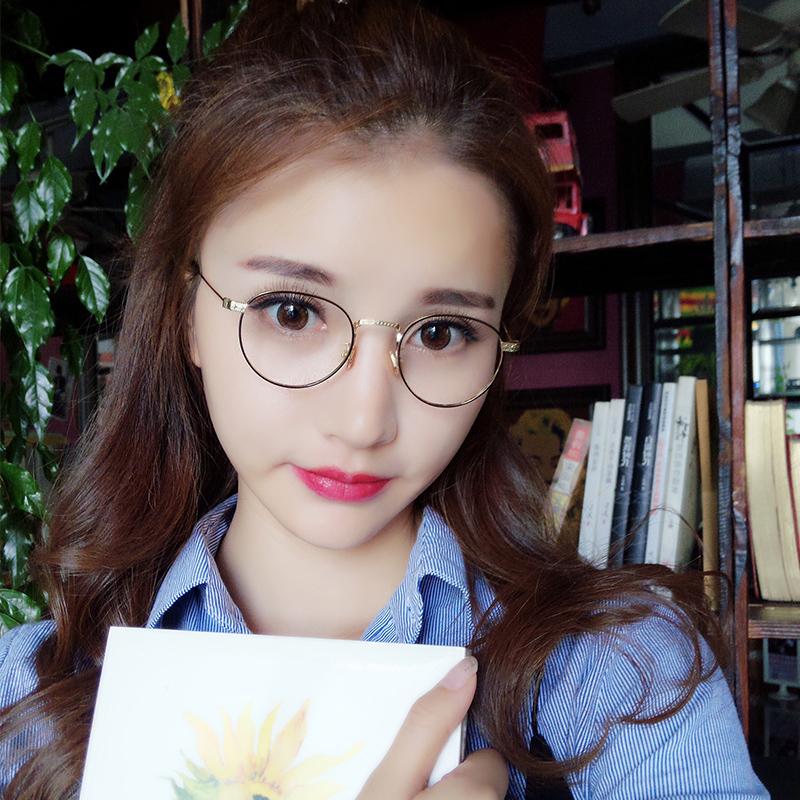 文艺眼镜框女韩版潮复古小脸素颜眼镜圆脸平光镜女配有度数眼镜