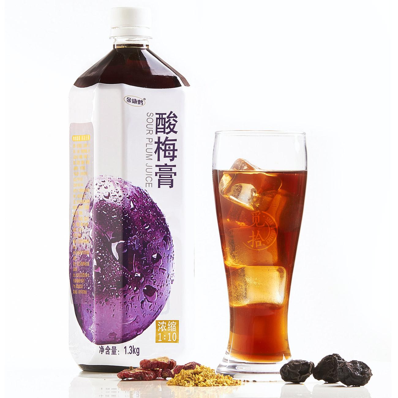 领券减10元金康鹤酸梅膏浓缩酸梅汤1:10乌梅汁饮料原料1300gX12瓶