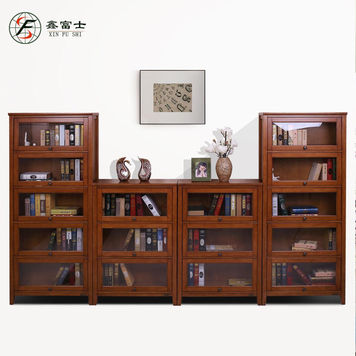 实木三层五层书柜家用办公带门多层书架柜子收纳储物简约美式