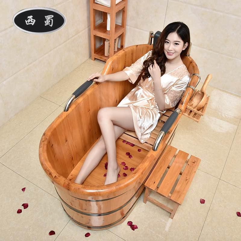 西蜀木桶泡澡桶加厚沐浴桶成人沐浴盆儿童洗澡桶香柏木质浴缸