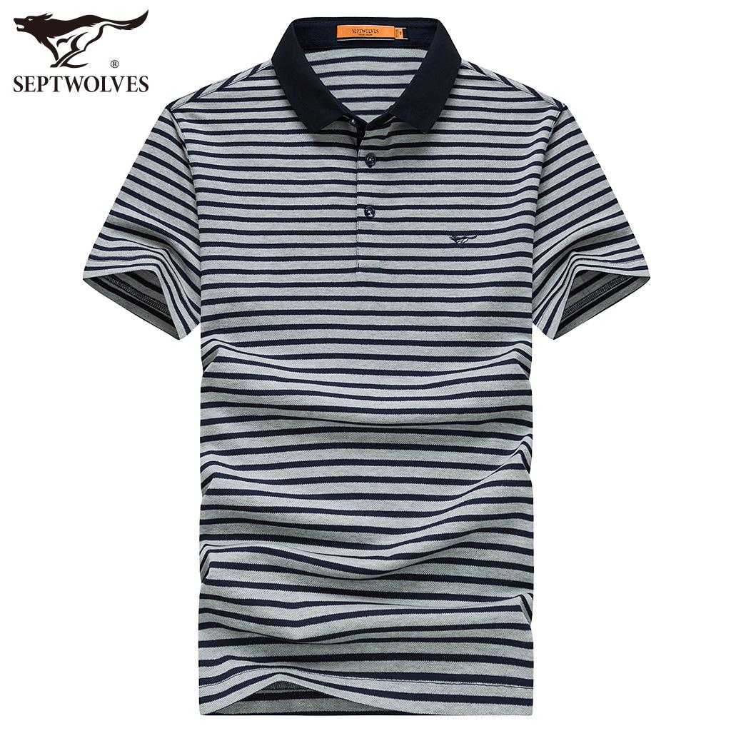 七匹狼短袖T恤 中青年男士丝光棉潮流POLO衫夏季新品条纹体恤衫男