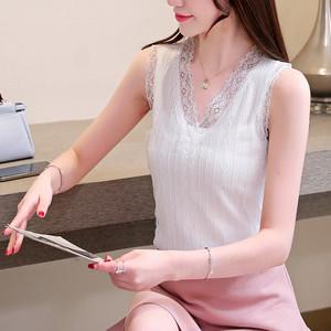 實拍夏季小背心女韓版寬松無袖蕾絲小清新吊帶上衣外穿打底衫內搭