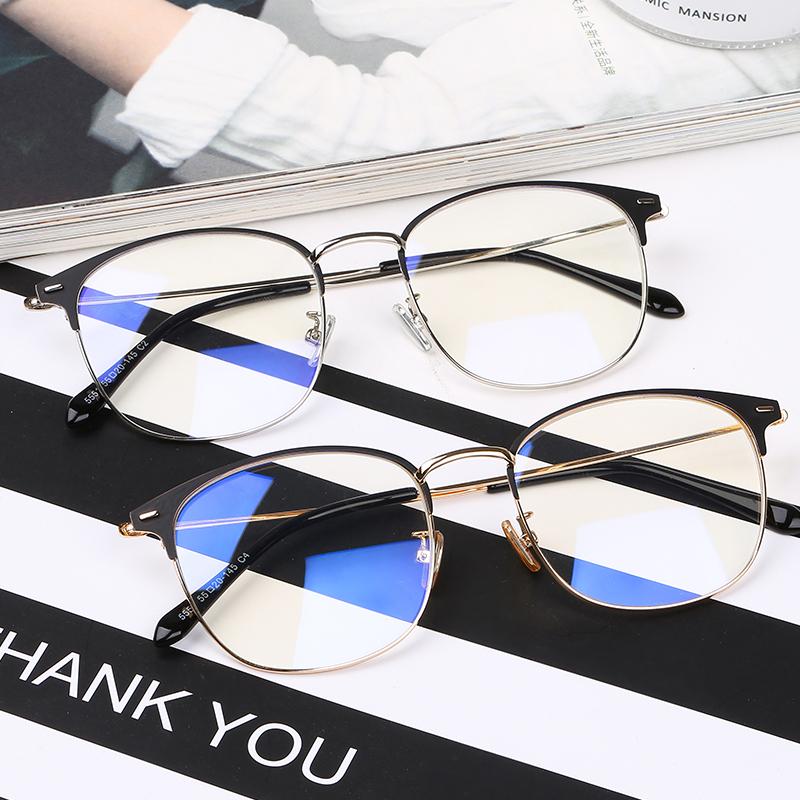 近视眼镜男成品有度数复古潮半框金属平光镜韩版眼睛框镜架女学生