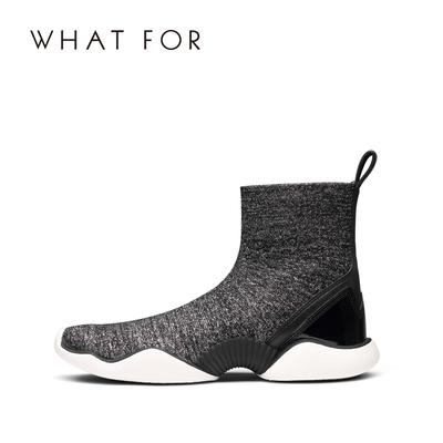 WHAT FOR2018秋冬新款圆头时尚休闲平底鞋短筒靴子女短靴袜靴潮