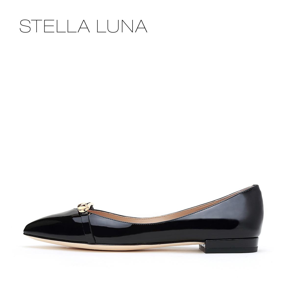 STELLA LUNA春夏尖头浅口女鞋牛皮金属buckle低跟单鞋SG134L24001