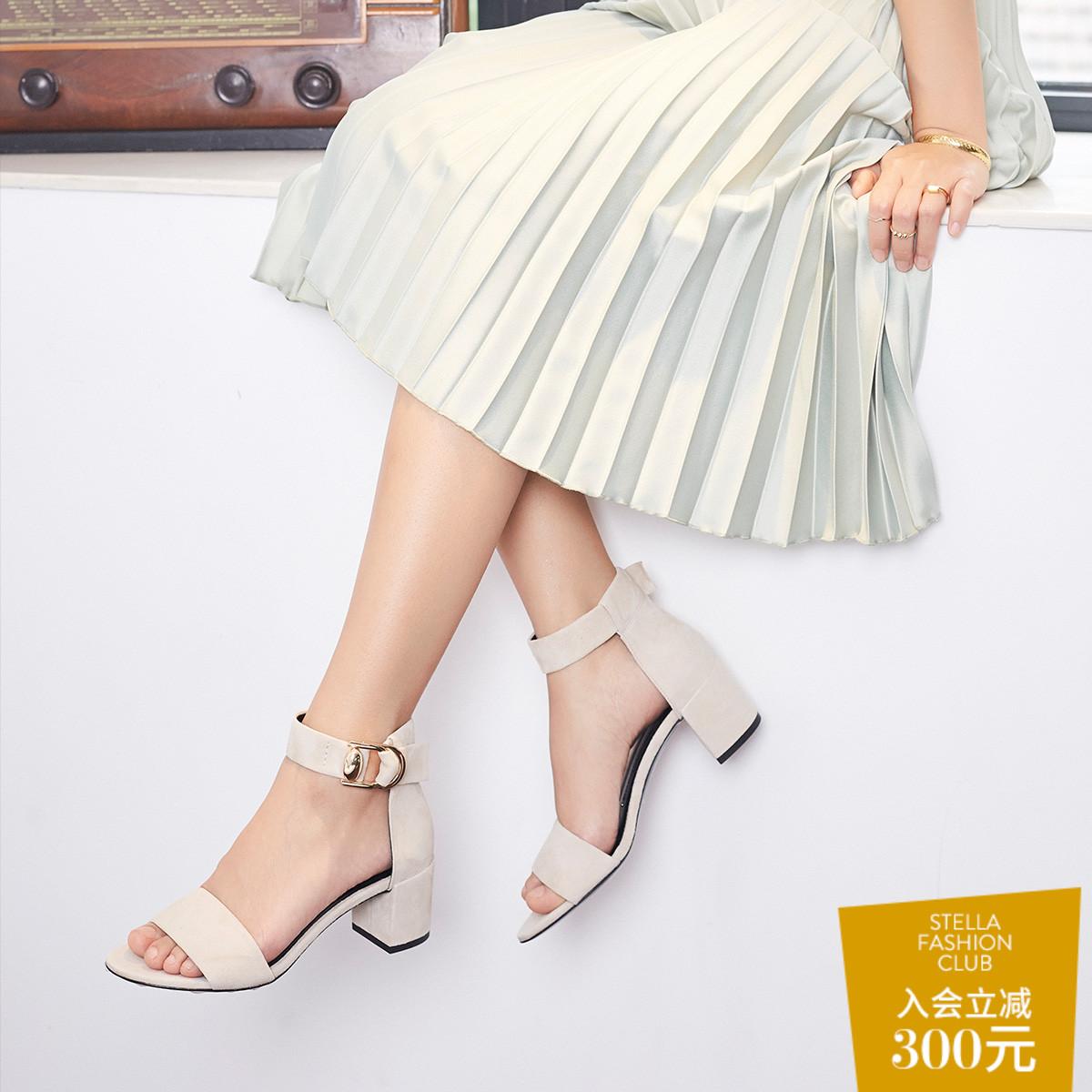 STELLA LUNA夏季圆头露趾中跟宴会女鞋金属一字扣粗跟时尚凉鞋