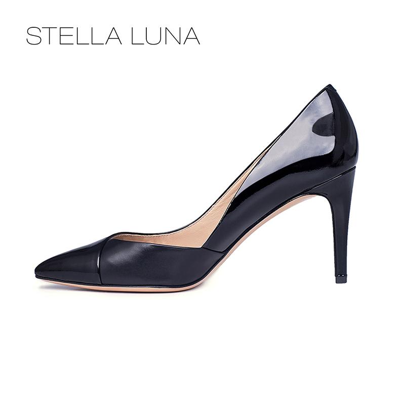 STELLA LUNA设计师款尖头浅口细跟女鞋牛皮套脚高跟通勤单鞋