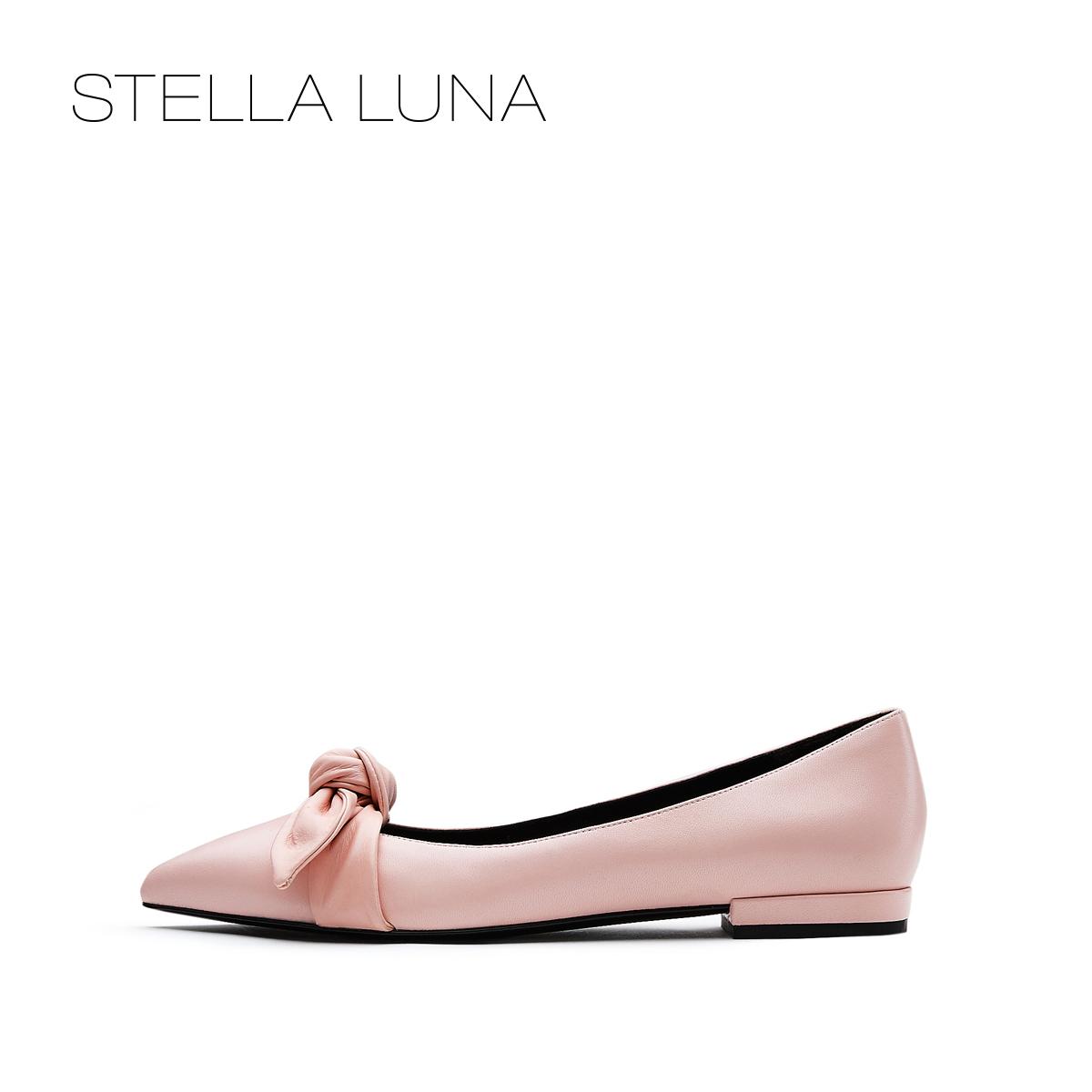 STELLA LUNA2018春夏新款蝴蝶结尖头浅口平底鞋女单鞋