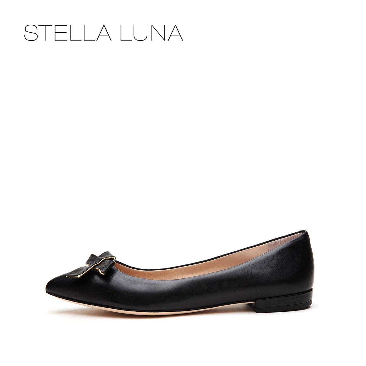 STELLA LUNA春夏浅口套脚女鞋牛皮蝴蝶结低跟单鞋SG134L24823