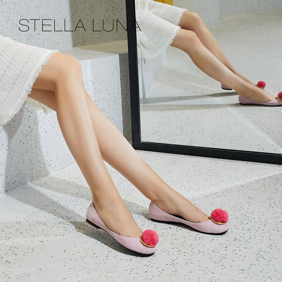STELLA LUNA秋季新款羊反毛时尚浅口圆头平底鞋办公室chic女单鞋
