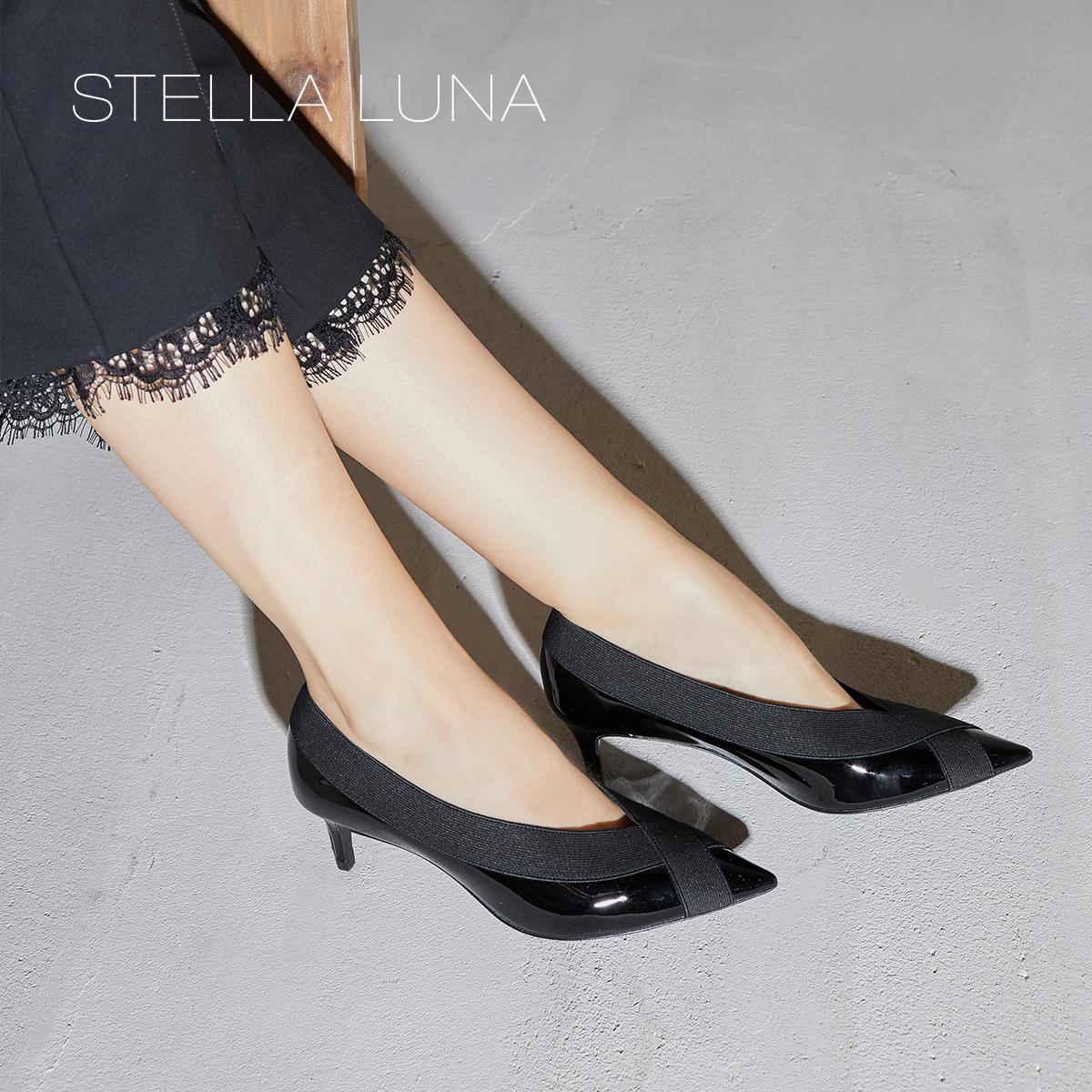 STELLA LUNA2018秋季新款牛皮浅口时尚尖头细跟小猫跟通勤女单鞋