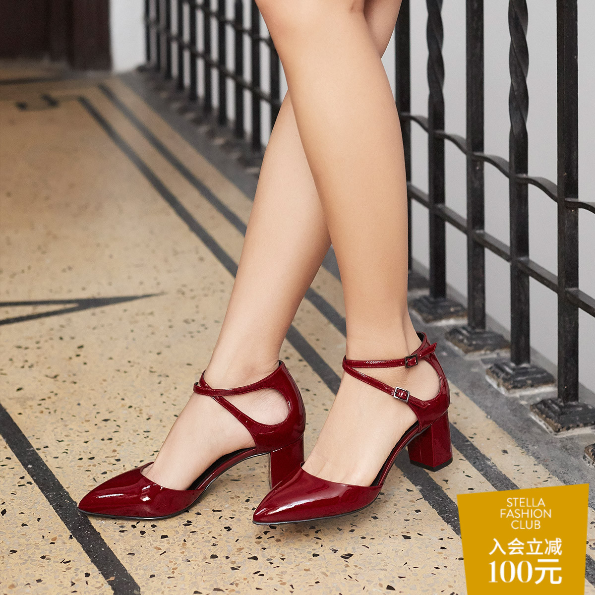 WHAT FOR秋季皮带扣玛丽珍鞋牛皮包头高跟凉鞋漆皮粗跟ins单鞋