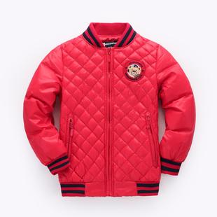 儿童轻薄羽绒服男童学院风小熊童装中大童夹克棒球服加厚保暖外套