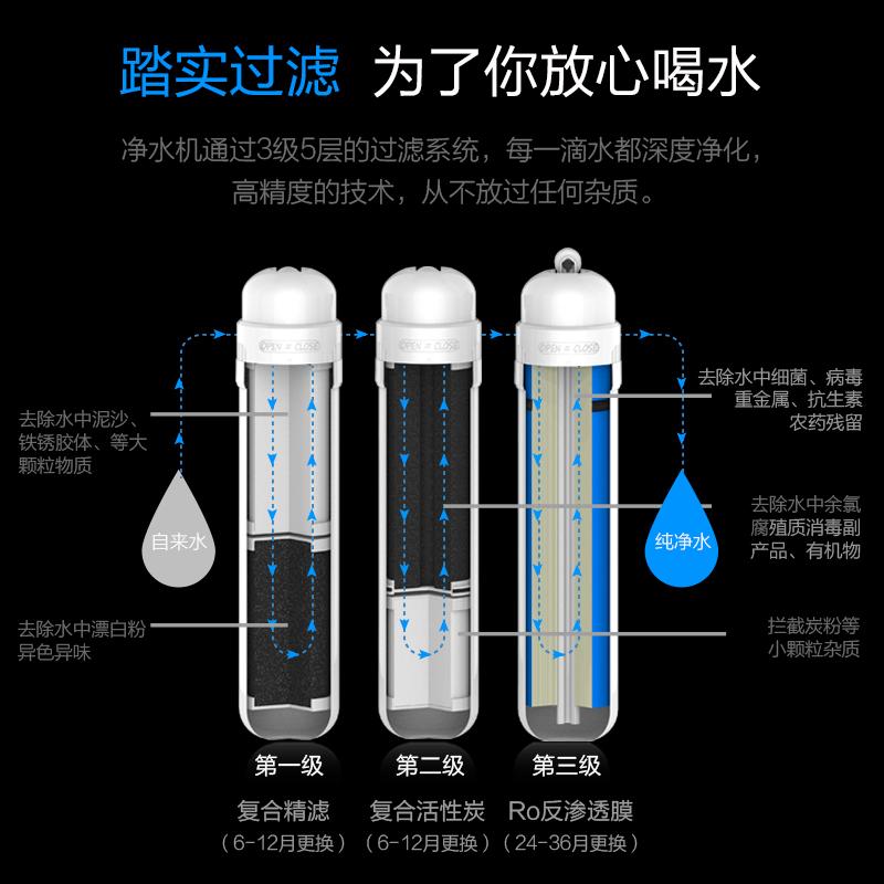 冰瀑净水器家用直饮加热一体机免安装台式自来水过滤RO净饮反渗透