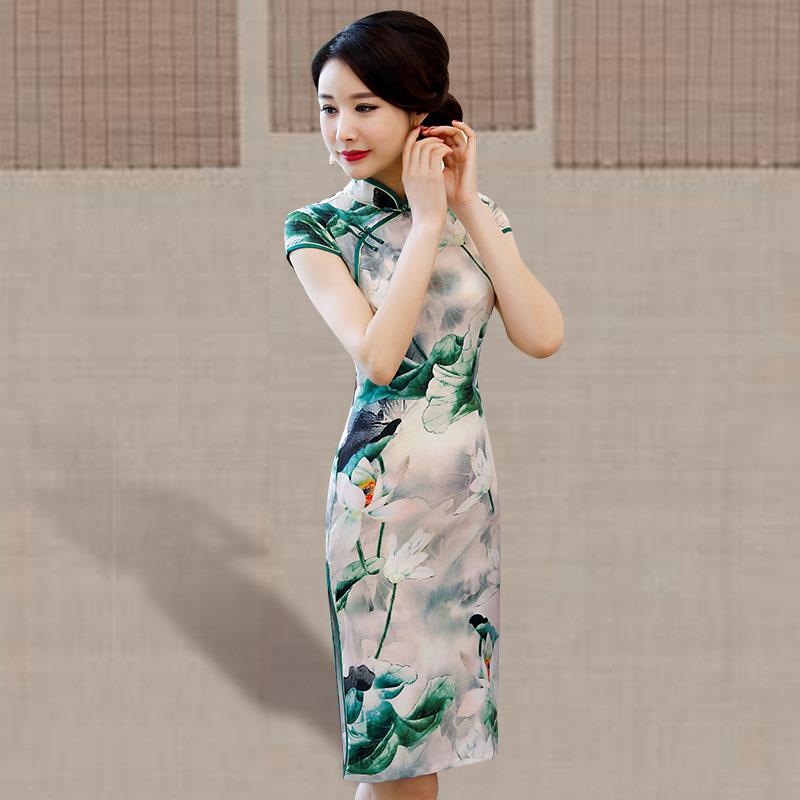 旗袍中长款夏季2018新款女复古中国风走秀演出修身显瘦祺袍连衣裙