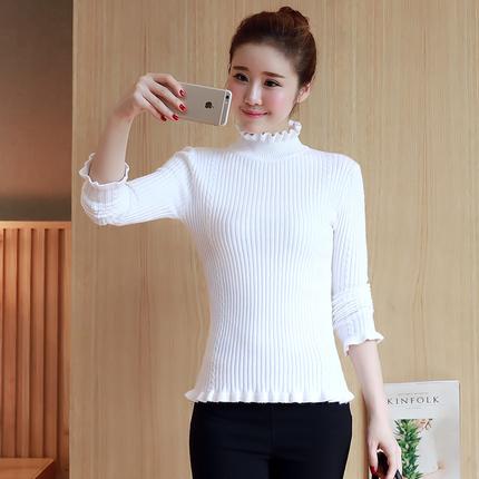 秋冬新款韩版木耳荷叶边半高领套头毛衣女长袖修身上衣针织打底衫