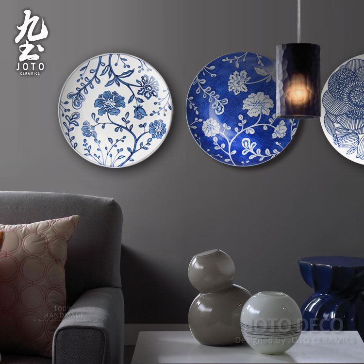 About Nine modern blue and white porcelain hanging plate ceramic wall hanging European soil on the metope of the sitting room porch hanging decorative plates