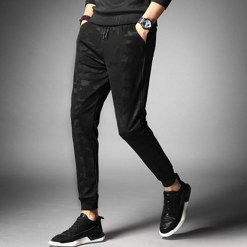 夏季休闲裤弹力薄款青年长裤韩版修身松紧卫裤子束脚九分运动裤
