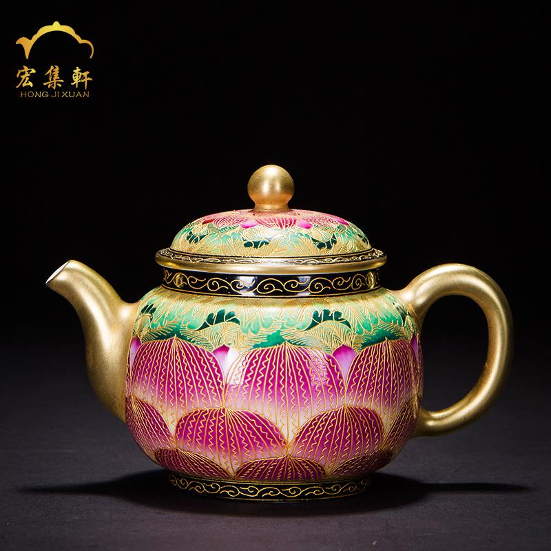 泡茶壶陶瓷家用泡茶器全手工功夫茶具景德镇掐丝珐琅彩荷花小茶壶