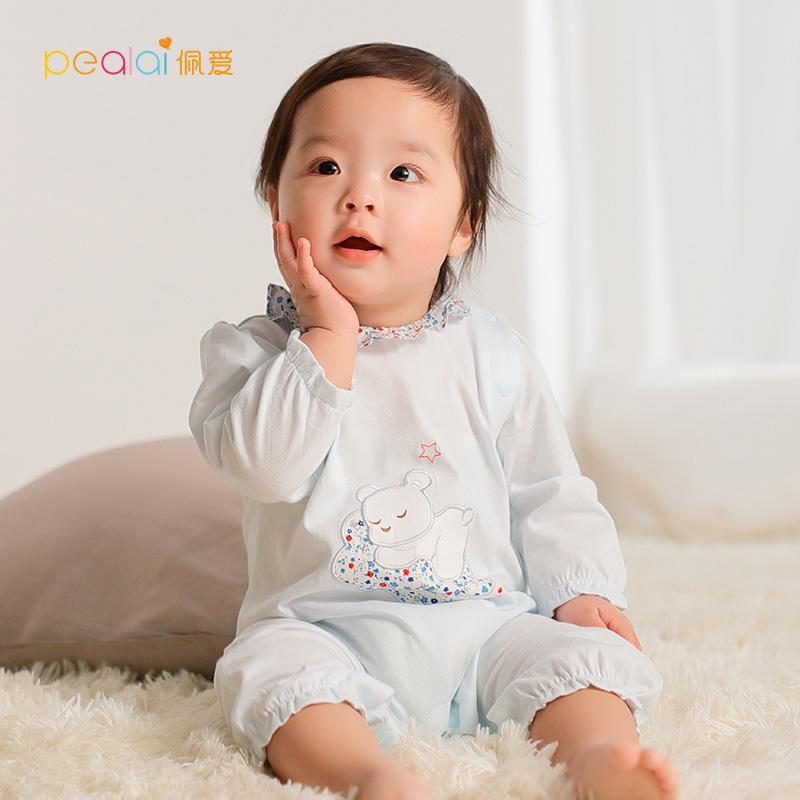 佩爱 婴儿夏季薄款纯棉连体衣0-1岁男女宝宝衣服小熊卡通哈衣爬服