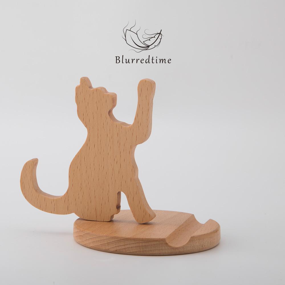 小猫桌面手机支架创意定制卡通可爱榉木质懒人iphone手机底座礼物图片