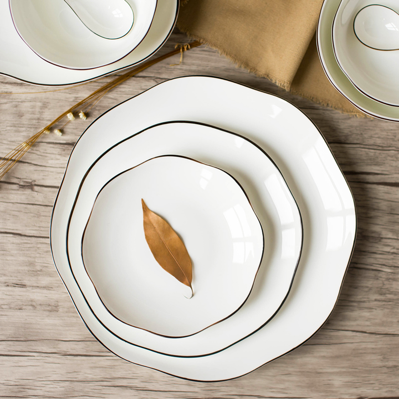 REONE Simple Nordic Dishes Set Household Ceramics Dishes Chinese Creative Bone China Dinnerware Set Continental & REONE Simple Nordic Dishes Set Household Ceramics Dishes Chinese ...