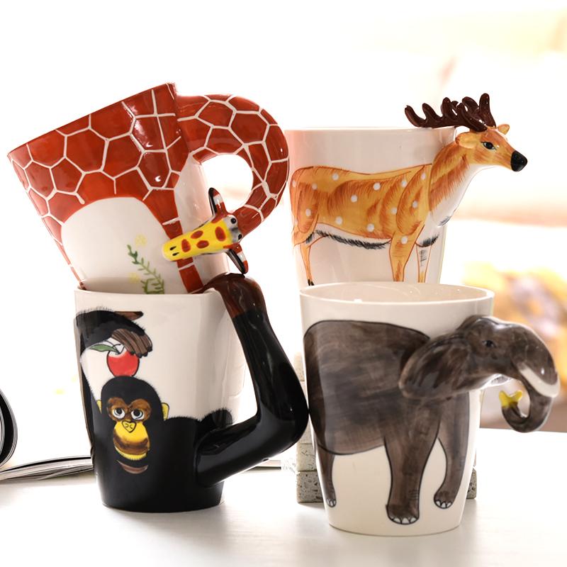 3D立体动物陶瓷马克杯带盖勺女学生韩版水杯创意可爱情侣咖啡杯子