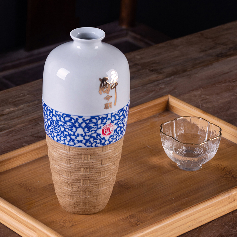 Jingdezhen one jin of an empty bottle with ceramic with gift box household hip sealed empty bottles of liquor bottles of antique bottles