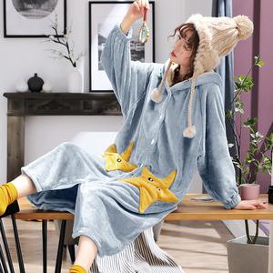 韩版睡衣女秋冬季珊瑚绒加厚加长款大码星星睡袍女连帽浴袍被睡裙
