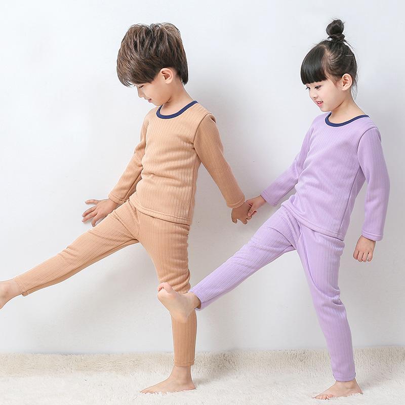 Children plus velvet thermal underwear sets baby boys and girls thick Qiuyiqiuku large children's winter pajamas