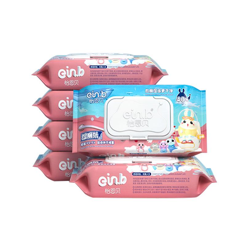 怡恩贝湿厕纸湿厕巾40抽5包家庭装便携清洁抑菌杀菌洁厕湿巾家用