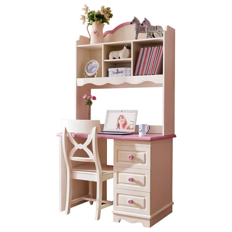儿童书桌书柜组合女孩卧室家用书柜书桌一体多功能学习桌电脑桌