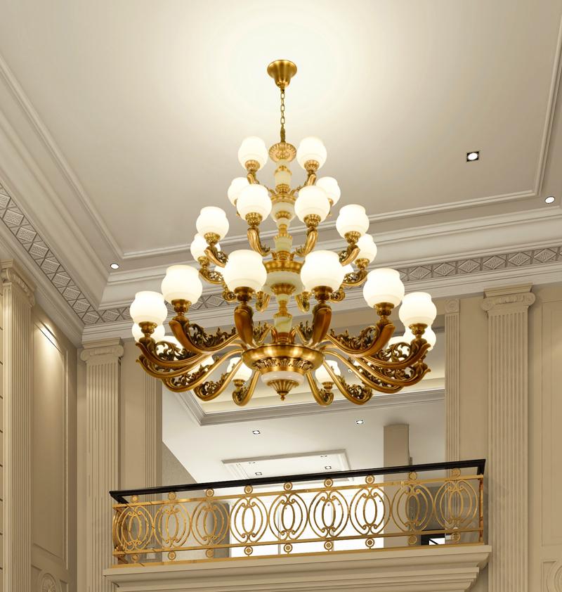 欧式客厅卧室大吊灯复式楼别墅楼中楼美式楼梯酒店大堂工程长吊灯
