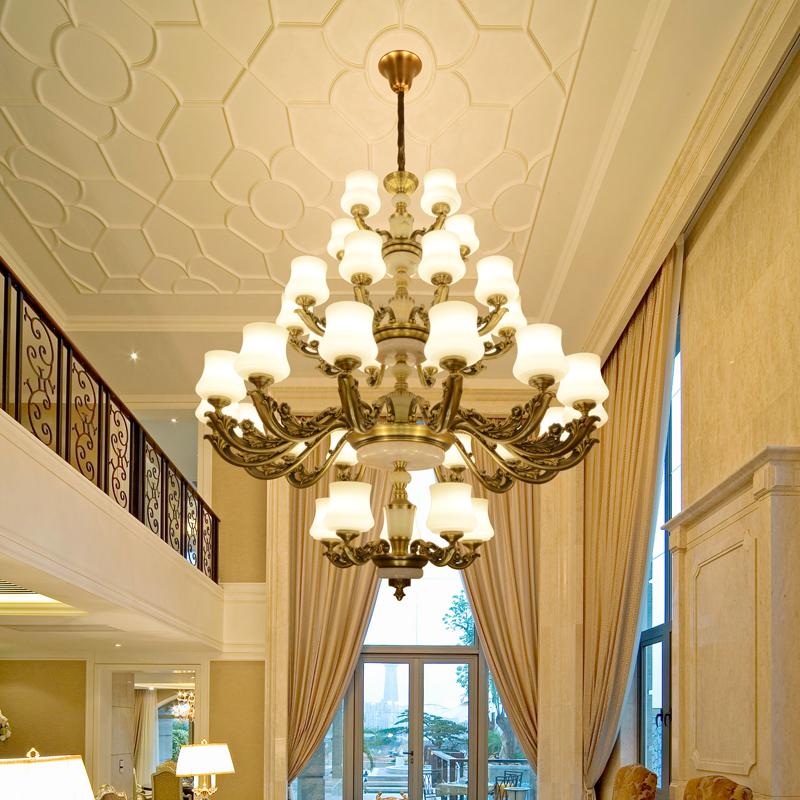 欧式复式楼大吊灯 美式别墅楼梯吊灯 楼中楼客厅酒店阁楼水晶大灯