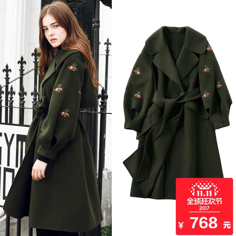 2017新款双面呢羊毛大衣灯笼袖呢子大衣中长款刺绣毛呢外套女秋冬