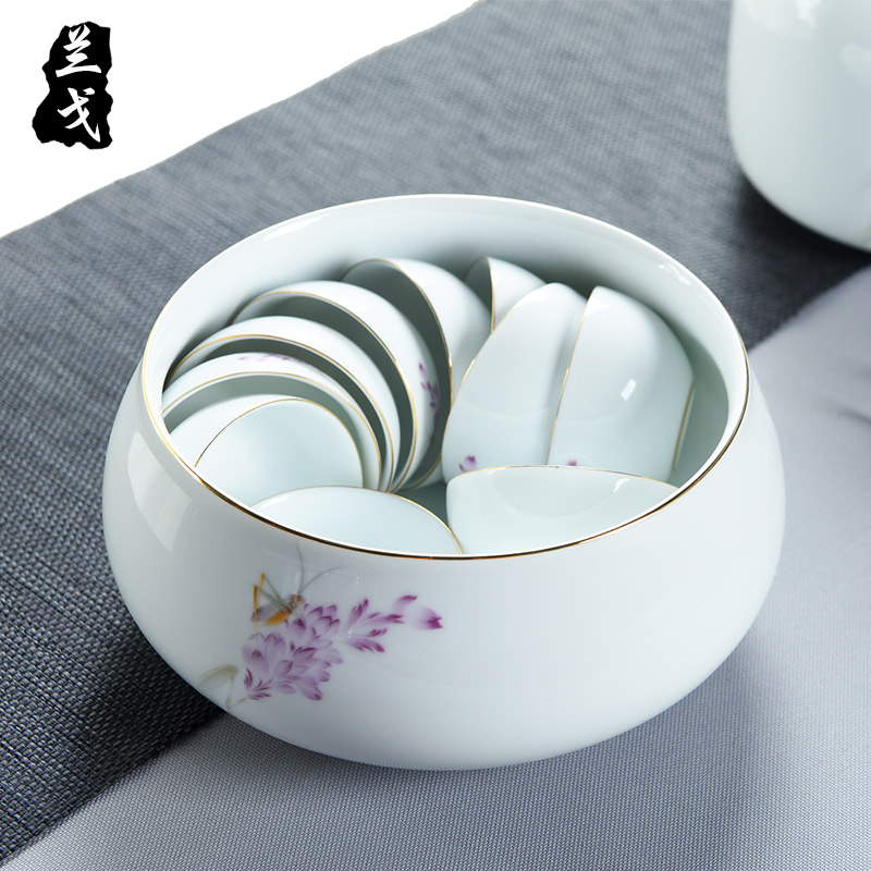 Having a complete set of white porcelain kung fu tea set fat white ceramic teapot tea tureen washing cup gift set gift boxes