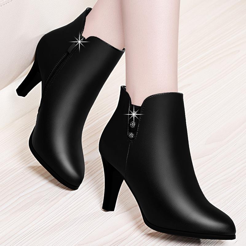 女鞋小跟2018新款秋冬季高跟鞋加绒细跟短靴春秋靴子中跟女士皮鞋