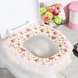 四季通用 干净抑菌 清新靓丽田园蕾丝拉链式背面防水马桶坐垫