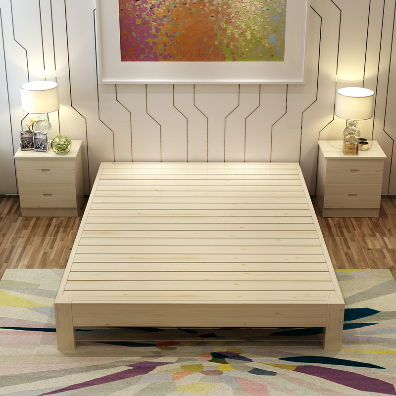 Solid wood tatami bed pine single double bed 1.2 m 1.5 solid wood ...