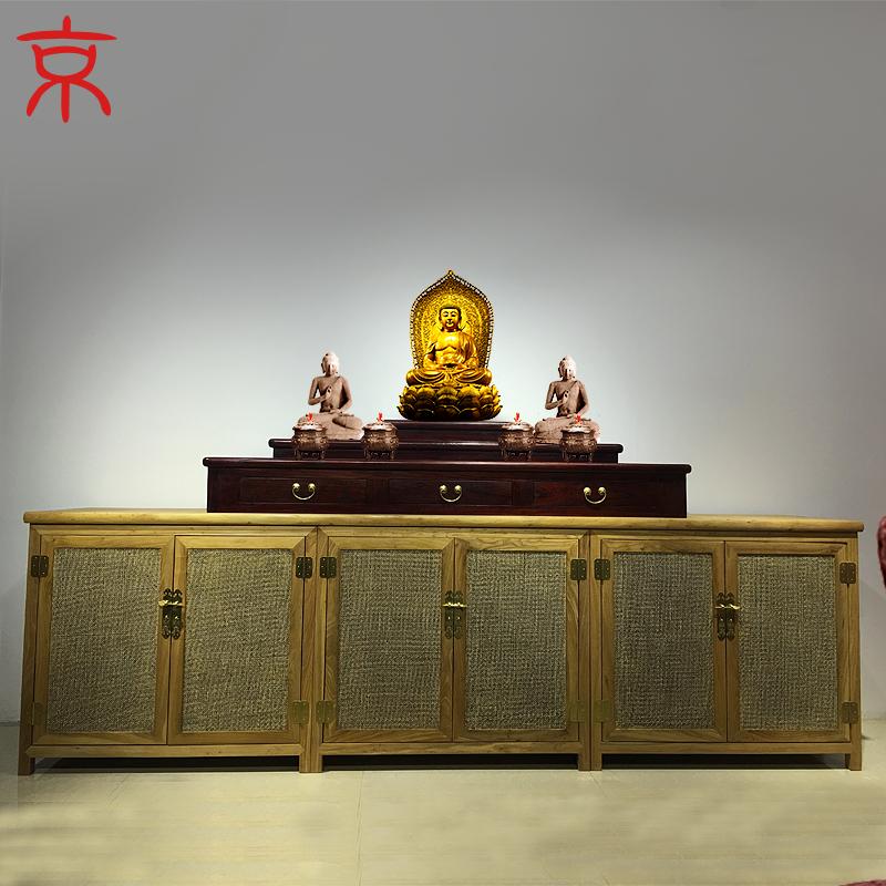 京作 现代新中式佛龛柜老榆木仿古供案纯实木佛堂供佛像柜子佛台图片