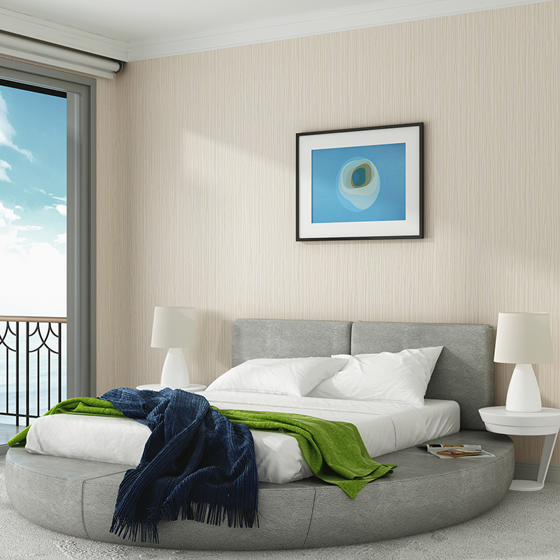 . Simple modern solid color fashion vertical stripes bedroom wallpaper  European warm living room TV background wall paper