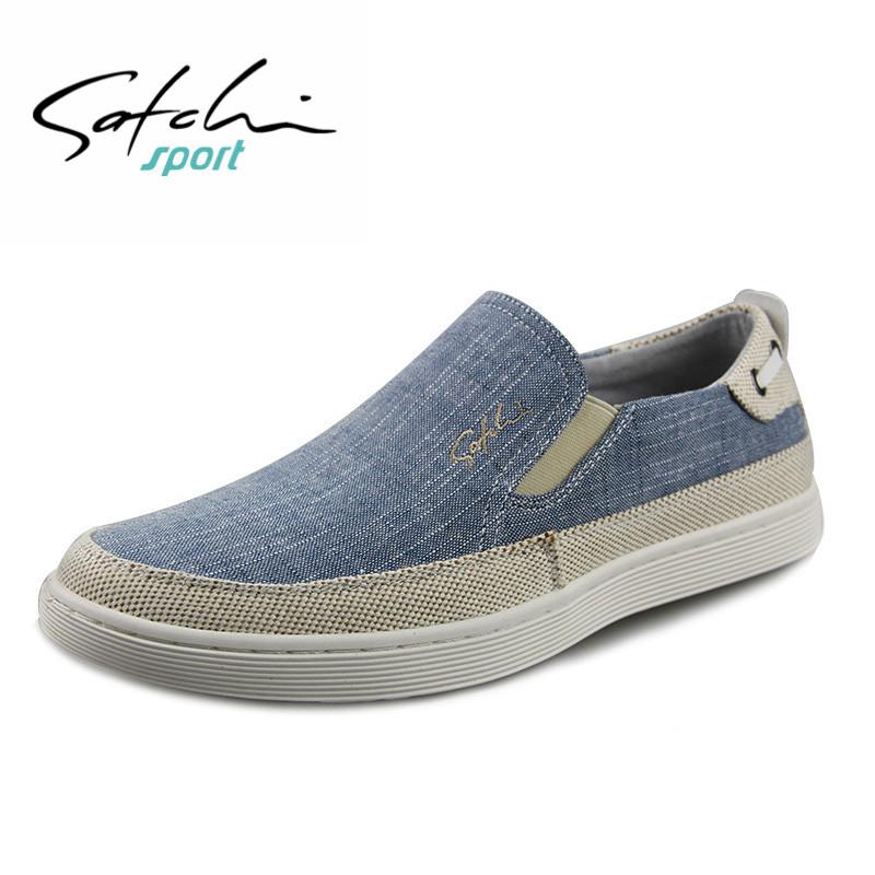 Satchi-沙驰布鞋休闲鞋低帮鞋帆布鞋男懒人一脚蹬鞋潮鞋套脚板鞋