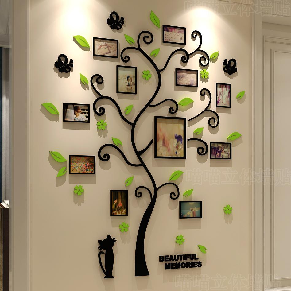 3d水晶立体墙贴亚克力客厅沙发卧室温馨照片树 贴纸创意家居装饰