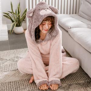 睡衣女秋冬 韩版可爱甜美卡通连帽加厚保暖学生法兰绒家居服套装