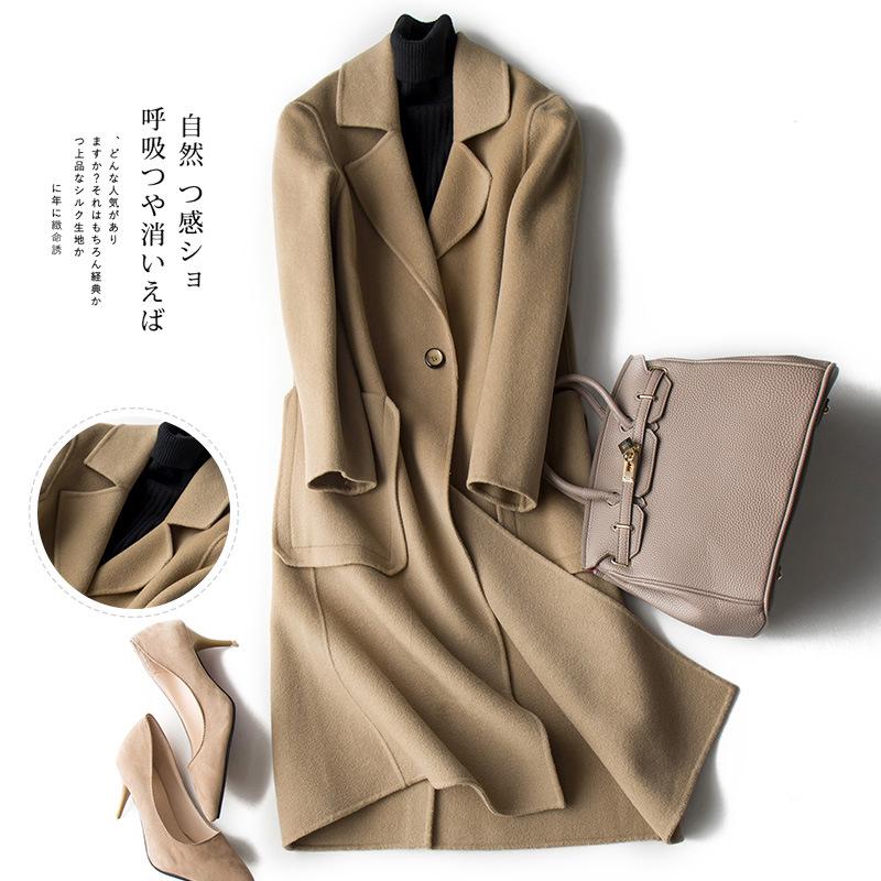 日式简约纯手工双面呢羊绒羊毛大衣双面绒修身款毛呢外套_7折现价588
