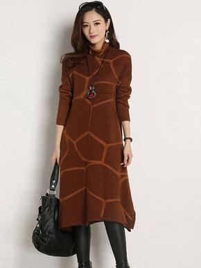 2018春装新款时尚韩版高领宽松格纹明星款长袖针织貂绒连衣裙大码