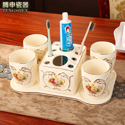 Ceramic bathroom set of four European-style wash five-piece set with tray bathroom accessories set toothbrush cup mug