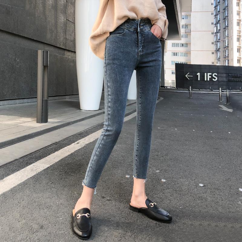 韩国八分蓝灰色牛仔裤女2020秋季新款网红高腰显瘦紧身小脚九分裤