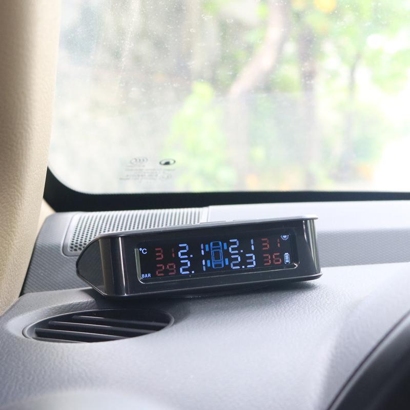 苹普太阳能汽车胎压监测器内置外置无线通用轮胎检测报警器高精度